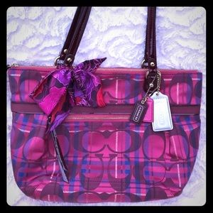 Coach Tartan Medium Pink Purple Zippered Tote